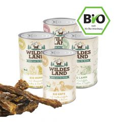 Wildes Land - Nassfutter - Bio Premium Paket mit 24 x 400g + Snack 200g (getreidefrei)