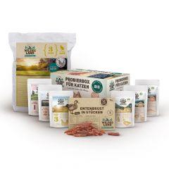 Wildes Land - Katzenfutter - Probierpaket mit Trockenfutter 1,2kg + 6 x 85g Bio Pouch Probierbox + Snack 70g