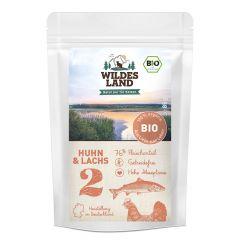 Wildes Land - Nassfutter - Bio Huhn und Lachs Pouch (getreidefrei)