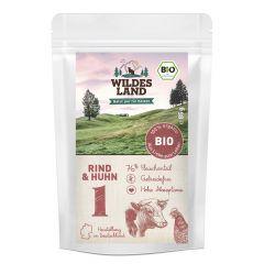 Wildes Land - Nassfutter - Bio Rind und Huhn Pouch (getreidefrei)