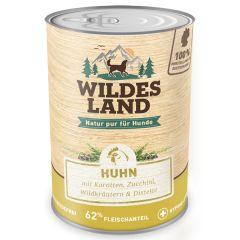 Wildes Land - Nassfutter - Huhn mit Karotten, Zucchini, Wildkräuter und Distelöl 6 x 400g (getreidefrei)