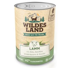 Wildes Land - Nassfutter - Lamm mit Reis, Zucchini, Wildkräutern und Distelöl (glutenfrei)