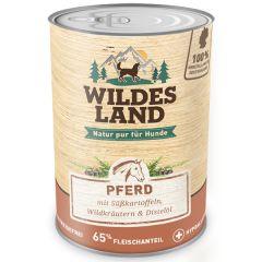 Wildes Land - Nassfutter - Pferd mit Süßkartoffeln, Wildkräutern und Distelöl 6 x 400g (getreidefrei)