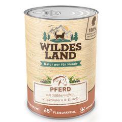 Wildes Land - Nassfutter - Pferd mit Süßkartoffeln, Wildkräutern und Distelöl (getreidefrei)
