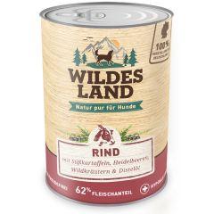 Wildes Land - Nassfutter - Rind mit Süßkartoffeln, Heidelbeeren, Wildkräutern und Distelöl 6 x 400g (getreidefrei)