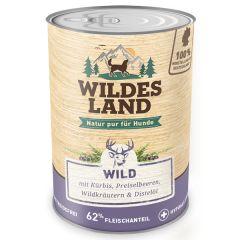 Wildes Land - Nassfutter - Wild mit Kürbis, Preiselbeeren, Wildkräutern und Distelöl 6 x 400g (getreidefrei)