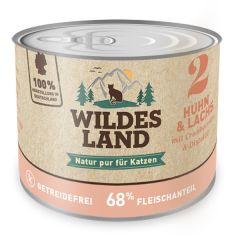 Wildes Land - Nassfutter - Huhn und Lachs mit Distelöl 200g (getreidefrei)