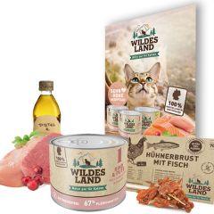 Wildes Land - Katzenfutter - Probierpaket mit 3 x 200g + Snack 70g + Broschüre