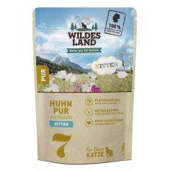Wildes Land - Nassfutter - Kitten Huhn PUR mit Distelöl Pouch (getreidefrei)