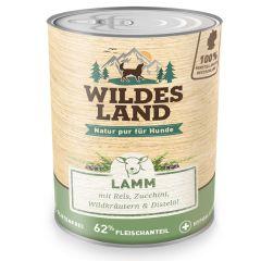 Wildes Land - Nassfutter - Lamm mit Reis, Zucchini, Wildkräutern und Distelöl 6 x 800g (glutenfrei)