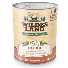 Wildes Land - Nassfutter - Pferd mit Süßkartoffeln, Wildkräutern und Distelöl 6 x 800g (getreidefrei)