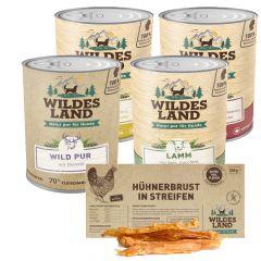Wildes Land - Nassfutter - Premium Paket mit 24 x 800g + Snack 250g (glutenfrei)