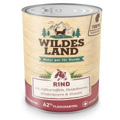Wildes Land - Nassfutter - Rind mit Süßkartoffeln, Heidelbeeren, Wildkräutern und Distelöl 6 x 800g (getreidefrei)
