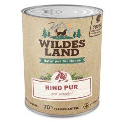 Wildes Land - Nassfutter - Rind PUR mit Distelöl 6 x 800g (getreidefrei)
