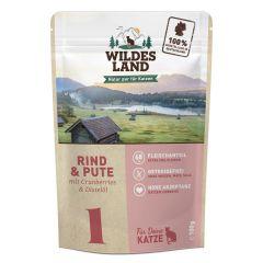 Wildes Land - Nassfutter - Rind und Pute mit Distelöl Pouch (getreidefrei)
