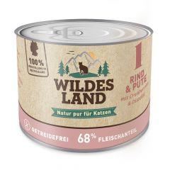 Für Katzen - Wildes Land - Nassfutter - Rind und Pute mit Distelöl 6 x 200g (getreidefrei)