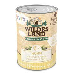 Wildes Land - Nassfutter - Puppy Huhn mit Karotte, Apfel und Wildkräutern (getreidefrei)