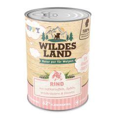 Wildes Land - Nassfutter - Puppy Rind mit Süßkartoffel, Apfel und Wildkräutern (getreidefrei)