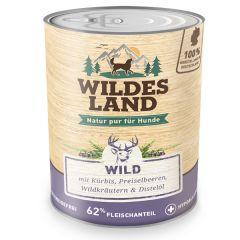 Wildes Land - Nassfutter - Wild mit Kürbis, Preiselbeeren, Wildkräutern und Distelöl 6 x 800g (getreidefrei)