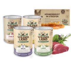 Wildes Land - Nassfutter - Premium Paket mit 24 x 400g + Snack 70g (glutenfrei)
