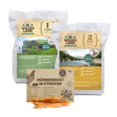 Wildes Land - Trockenfutter - Premium Paket 2 x 1kg + Snack 70g
