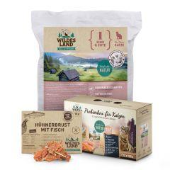 Wildes Land - Katzenfutter - Probierpaket mit Trockenfutter 1,2kg + 12 x 100g Pouch Probierbox + Snack 70g