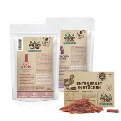 Wildes Land - Nassfutter - Premium Paket mit Pouches 24 x 100g + Snack 70g (getreidefrei)