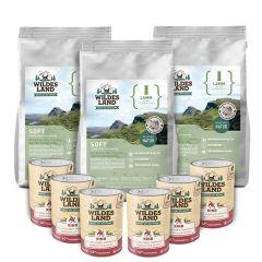Wildes Land - Trockenfutter - Premium Paket Soft Lamm mit Reis 3 x 5kg + Nassfutter 6 x 400g