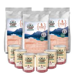 Wildes Land - Trockenfutter - Premium Paket Soft Truthahn und Lachs mit Reis 3 x 5kg + Nassfutter 6 x 400g