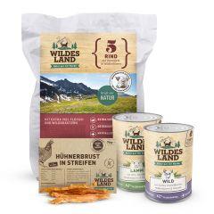 Wildes Land - Hundefutter - Mixpaket mit 1kg Trockenfutter + 2 x 400g Nassfutter + Snack 70g + Broschüre