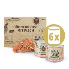 Wildes Land - Katzenfutter - Probierpaket mit 6 x 200g + Snack 70g + Broschüre