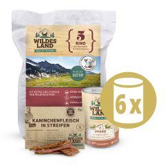 Wildes Land - Premium Paket Trockenfutter 4kg + Nassfutter 6 x 400g + Snack 70g