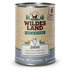 Wildes Land - Nassfutter - Ziege mit Kürbis, Blaubeeren, Wildkräutern und Distelöl 6 x 400g (getreidefrei)
