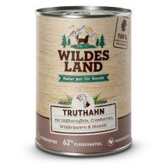 Wildes Land - Nassfutter - Truthahn mit Süßkartoffel, Cranberries, Wildkräutern und Distelöl 6 x 400g (getreidefrei)