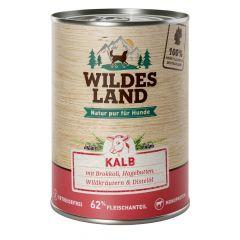 Wildes Land - Nassfutter - Kalb mit Brokkoli, Hagebutte, Wildkräutern und Distelöl 6 x 400g (getreidefrei)