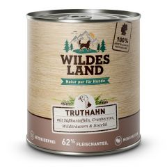 Wildes Land - Nassfutter - Truthahn mit Süßkartoffel, Cranberries, Wildkräutern und Distelöl 6 x 800g (getreidefrei)