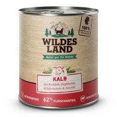 Wildes Land - Nassfutter - Kalb mit Brokkoli, Hagebutte, Wildkräutern und Distelöl 6 x 800g (getreidefrei)
