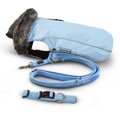 Wolters - Zubehör - Vorteilspaket Winterjacke Amundsen für Mops & Co. sky blue 40cm + Leine Professional  200cm x 15mm + Halsband Professional 28-40cm
