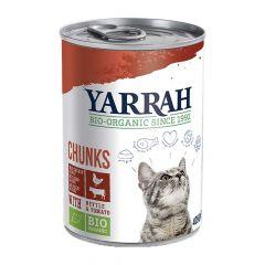 Yarrah - Nassfutter - Bio Bröckchen mit Huhn, Rind, Brennnessel & Tomate