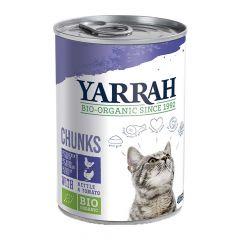 Yarrah - Nassfutter - Bio Bröckchen mit Huhn, Truthahn, Brennessel & Tomate