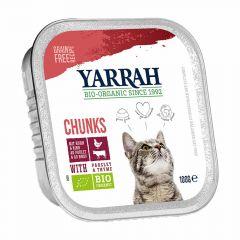 Yarrah - Nassfutter - Bio Bröckchen mit Huhn, Rind, Petersilie & Thymian (getreidefrei)