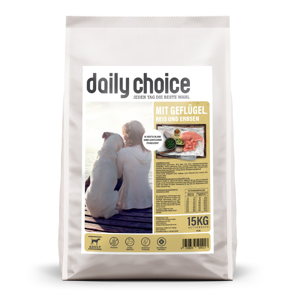 15kg, Trockenfutter Hund, Geflügel, Hundefutter, daily choice