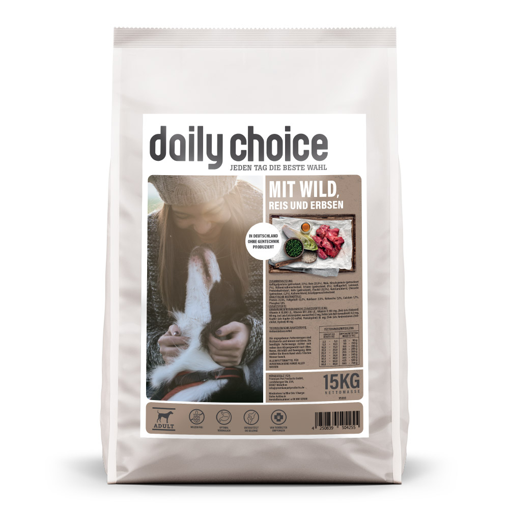 15kg, Trockenfutter Hund, Wild, Hundefutter, daily choice