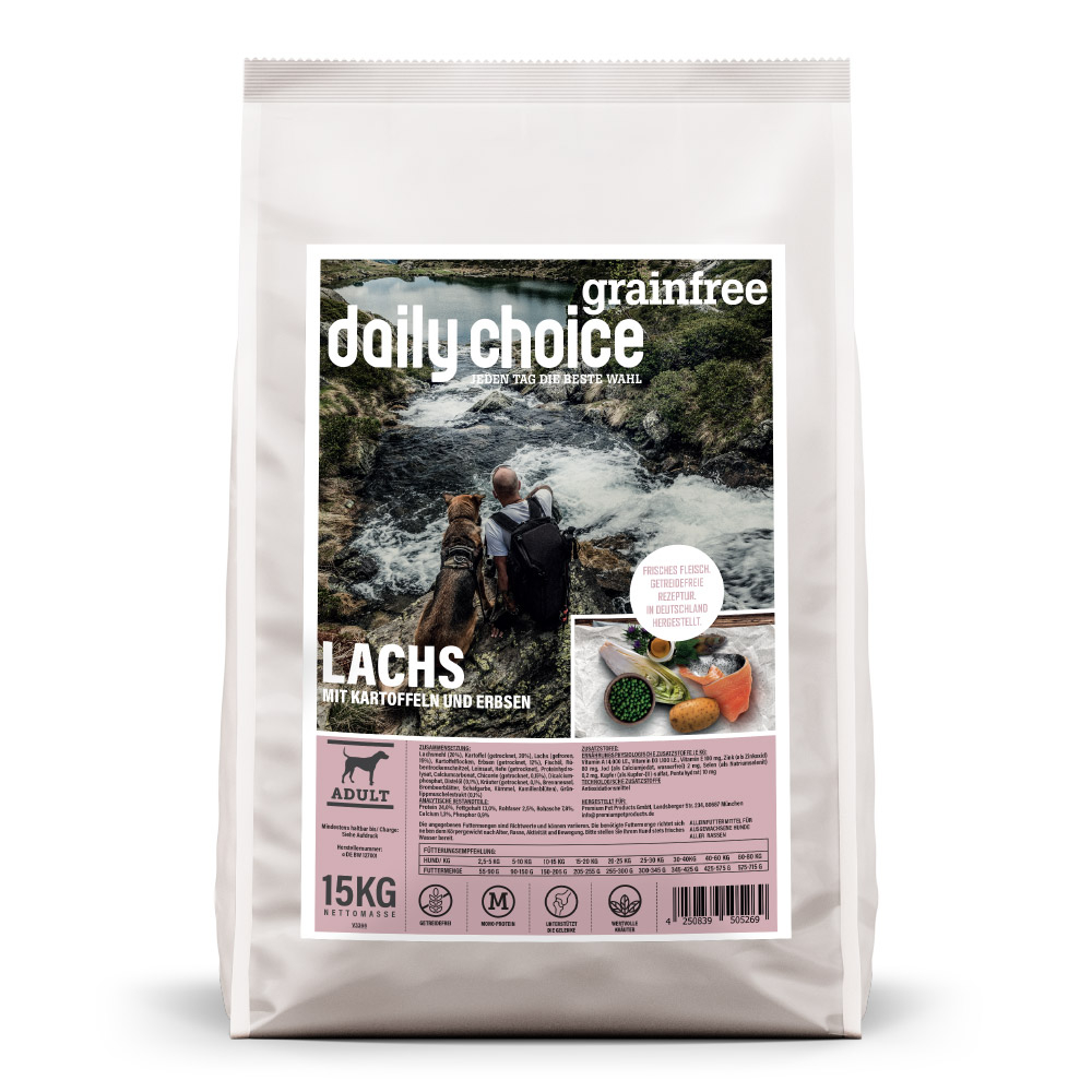 15kg, getreidefreies Hundefutter, Lachs, Trockenfutter, daily choice