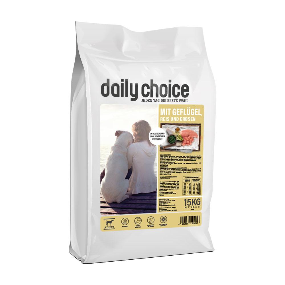 15 kg, Geflügel & Reis, glutenfrei, Trockenfutter, Hundefutter, daily choice