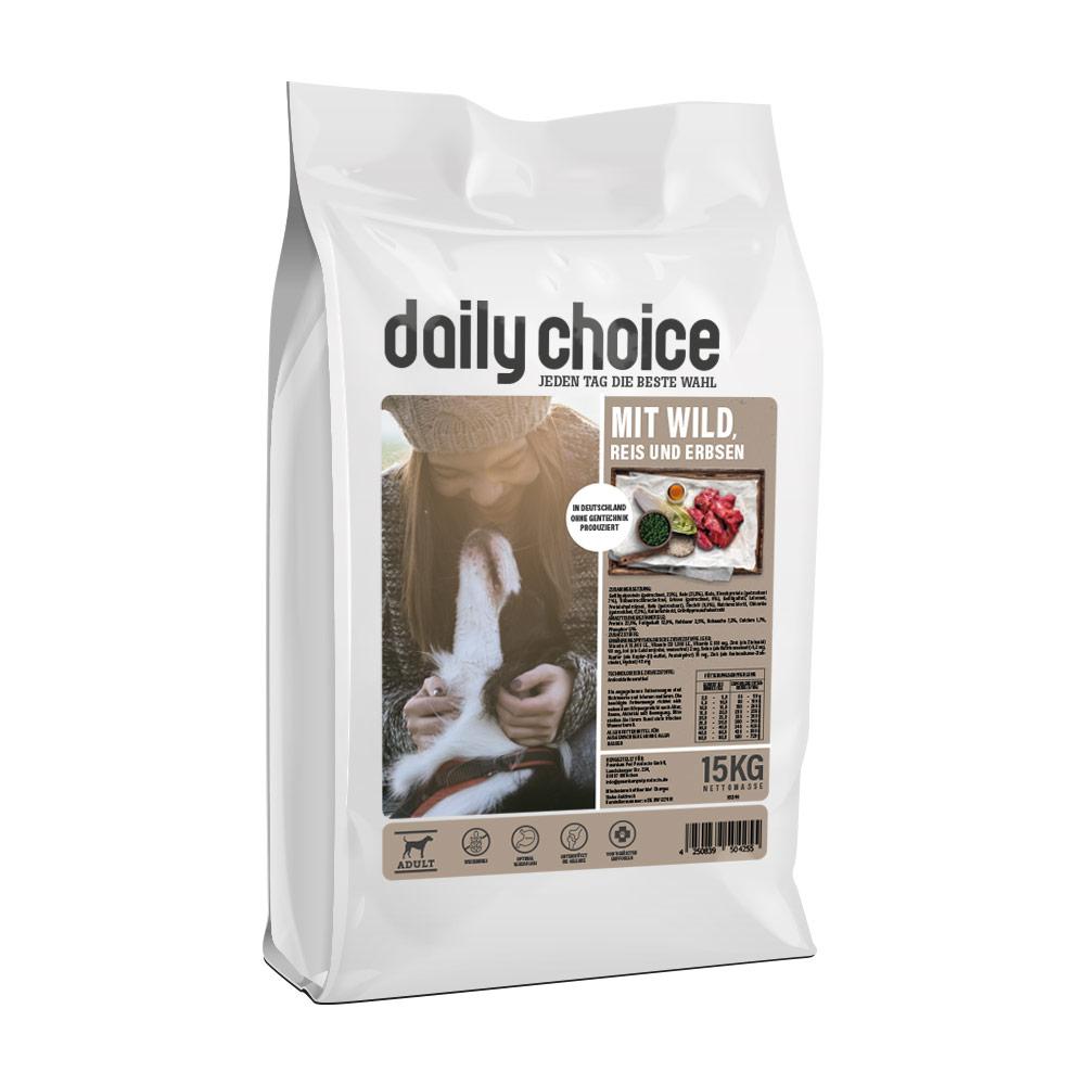 15 kg, Wild & Reis, glutenfrei, Trockenfutter, Hundefutter, daily choice