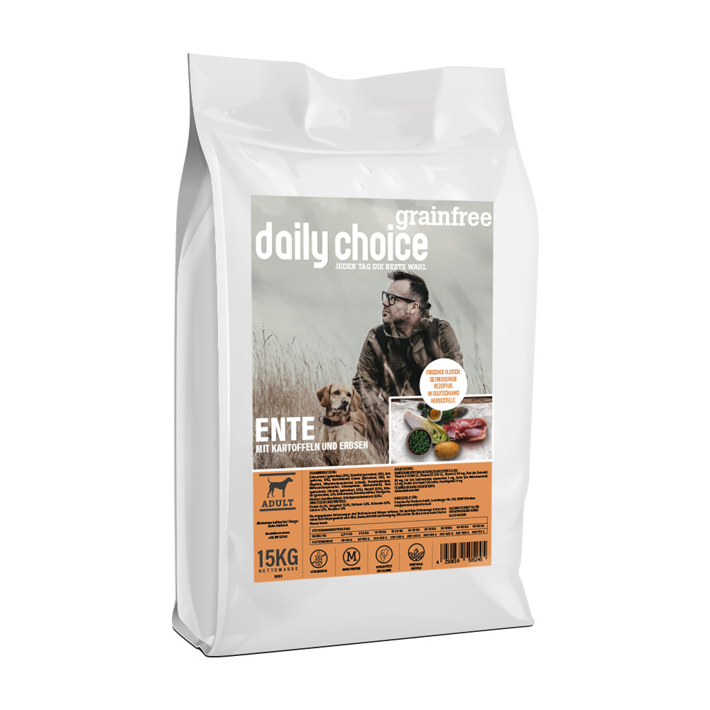 15 kg, Ente & Kartoffel, getreidefrei, Hundefutter, daily choice