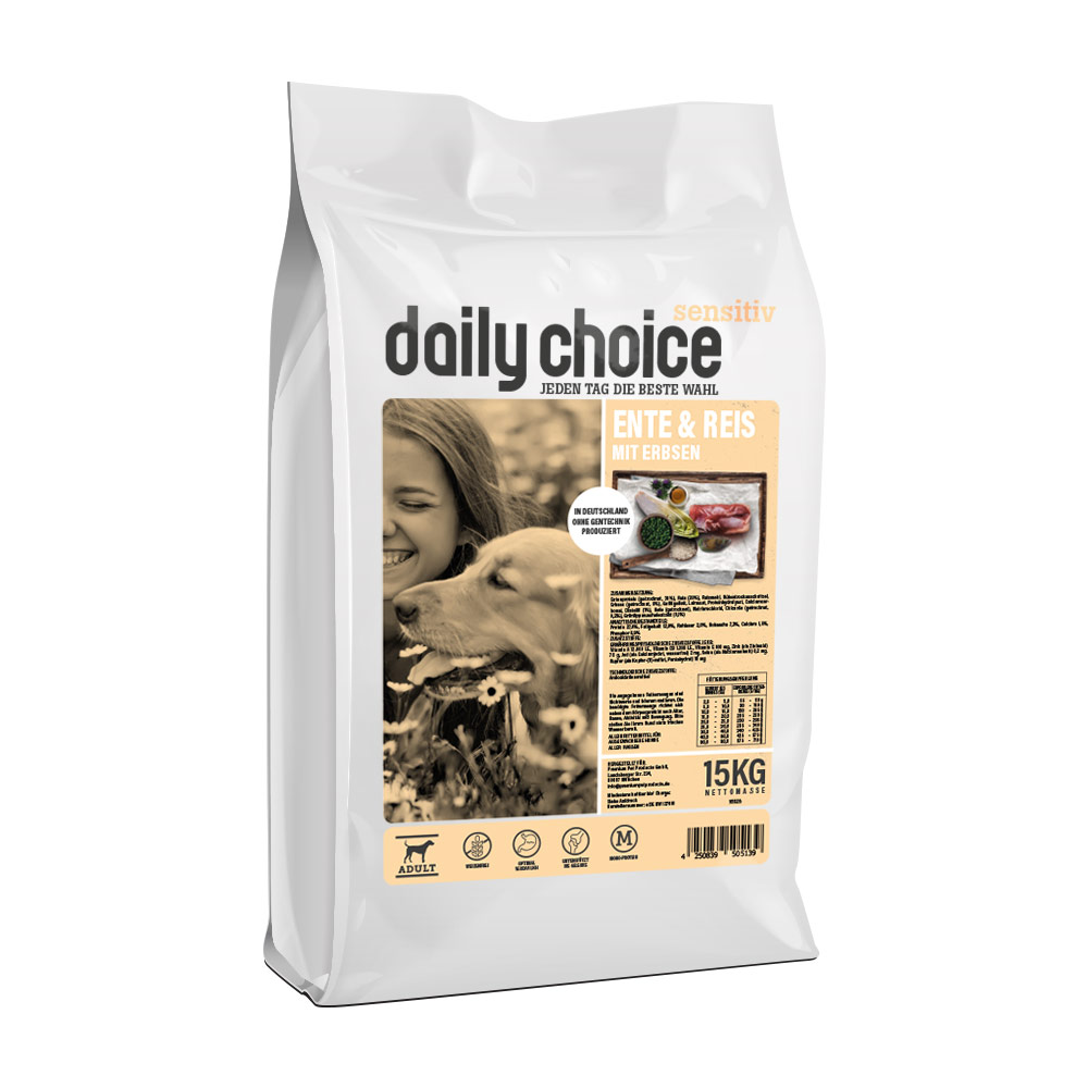 15 kg, Sensitiv, Ente & Reis, Single Protein, Hundefutter, daily choice