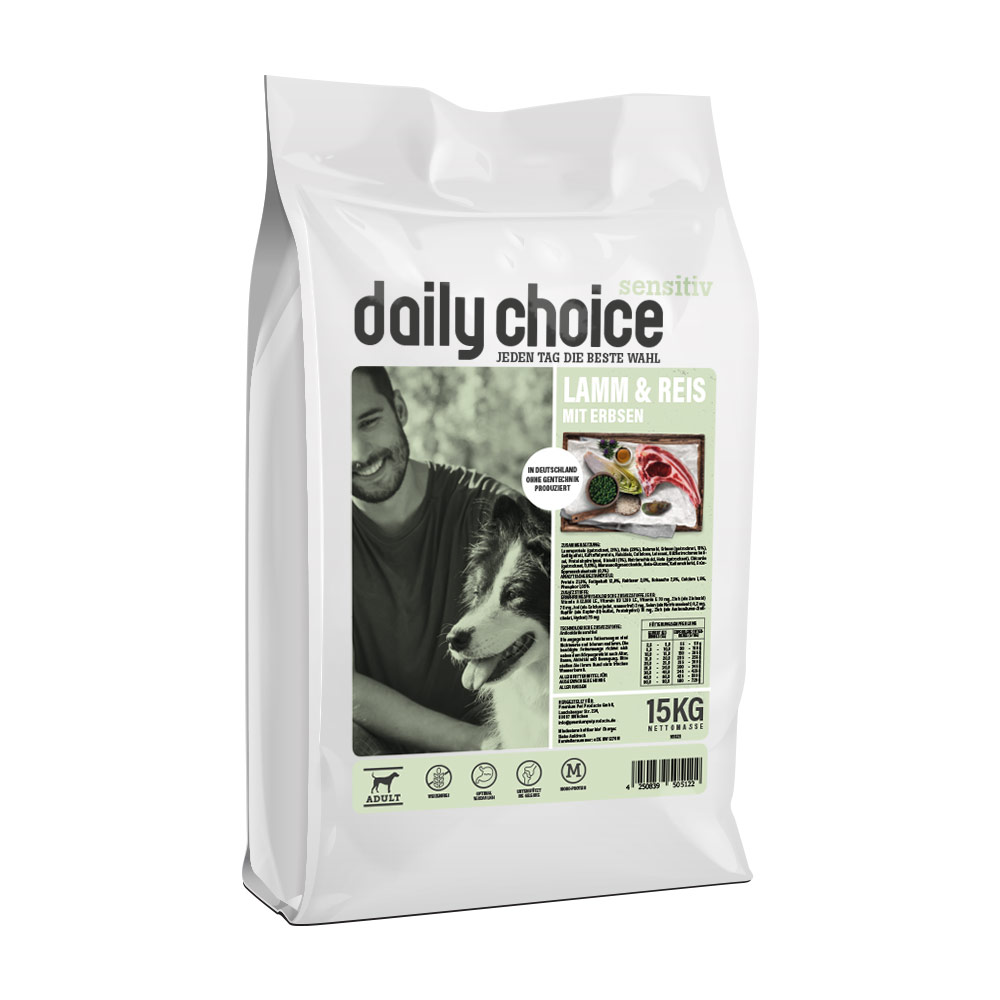 15 kg, Sensitiv, Lamm & Reis, Single Protein, Hundefutter, daily choice