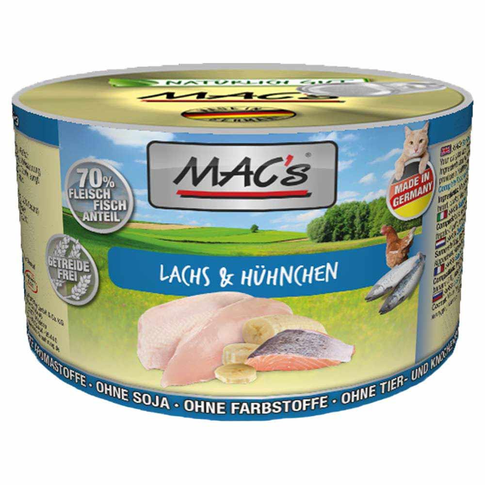 6 x 200 g | MACs | Lachs & Hühnchen Cat | Nassfutter | Katze